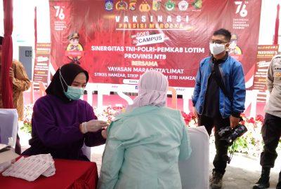 Vaksinasi Presisi Merdeka Goes To Campus Sinergitas TNI-POLRI-PEMKAB LOTIM Bersama Yayasan Maraqitta'limat Sediakan 1000 Vaksin